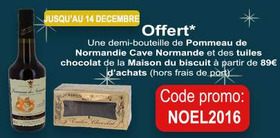 Pour Noël nous vous offrons un demi Pommeau de Normandie et des tuiles chocolat à partir de 89€ d'achats (hors frais de port)