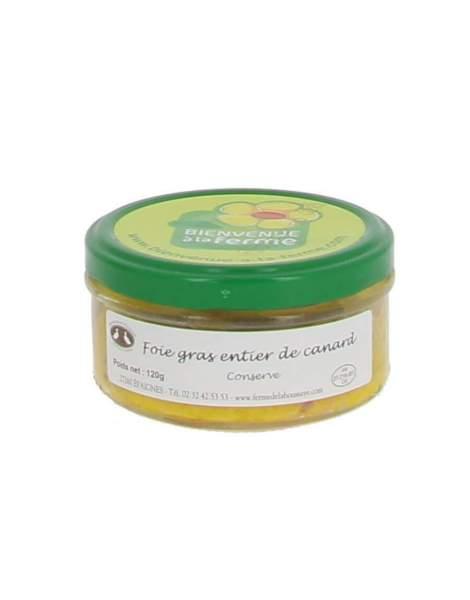 Foie gras de canard entier de la Ferme de La Houssaye - conserve artisanale de 120g - vente en ligne