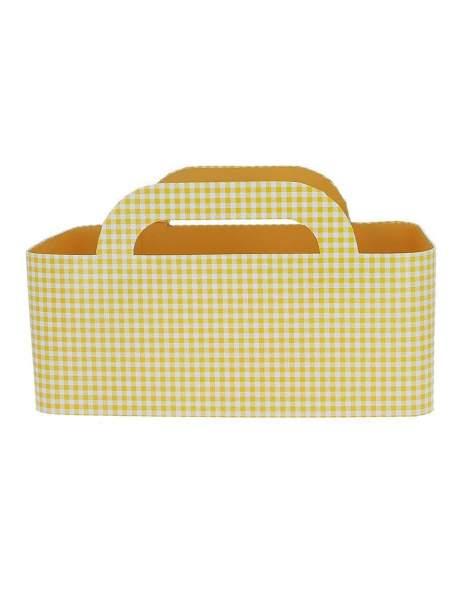 Panier carton vichy jaune