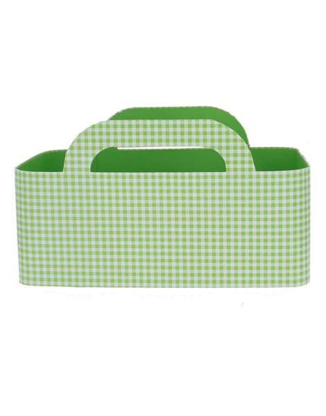 Panier carton vichy vert
