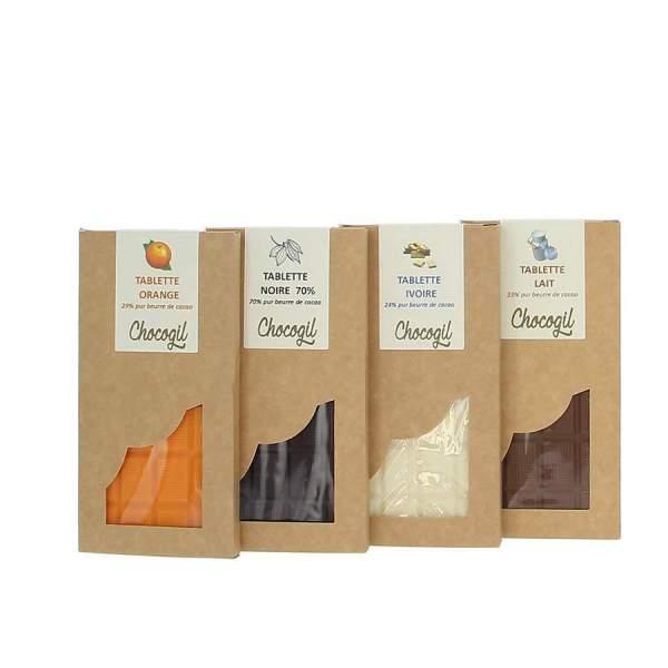 Assortiment 4 tablettes de chocolat