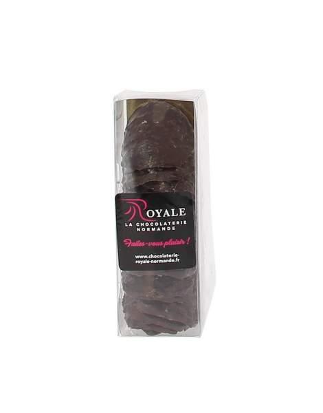 Etui tuiles chocolat noir aux éclats de caramels d'Isigny 120 gr