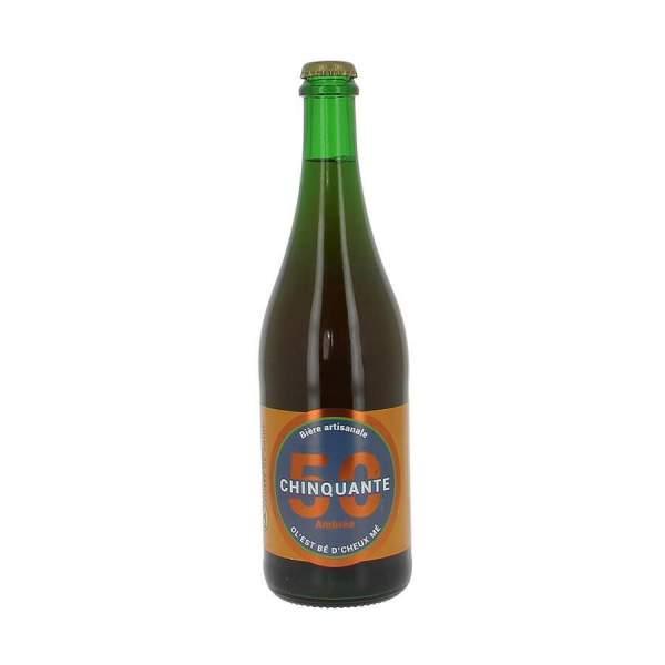 Bière ambrée La chinquante 5% 75cl