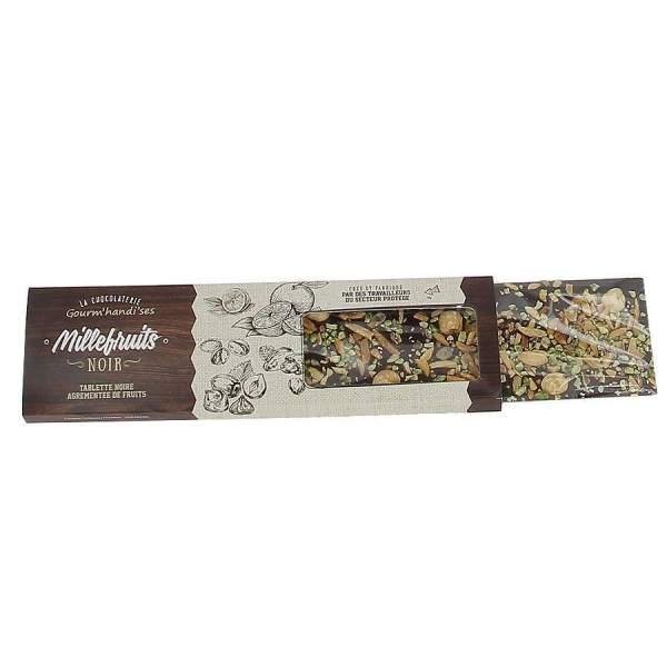 Tablette millefruits chocolat noir Gourm'handi'ses 140g