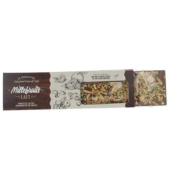 Tablette millefruits chocolat lait Gourm'handi'ses 140g