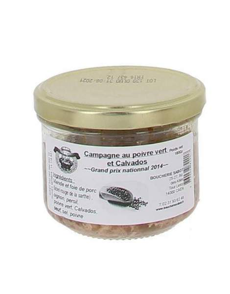 Terrine de campagne au poivre vert et Calvados 180g