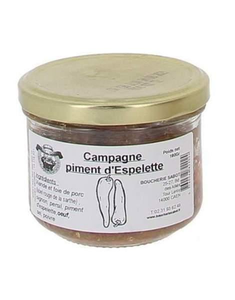 Terrine de campagne piment d'espelette 180g