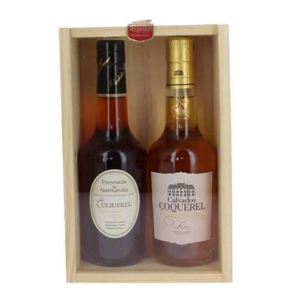 Coffret bois Calvados fine et Pommeau de Normandie Coquerel
