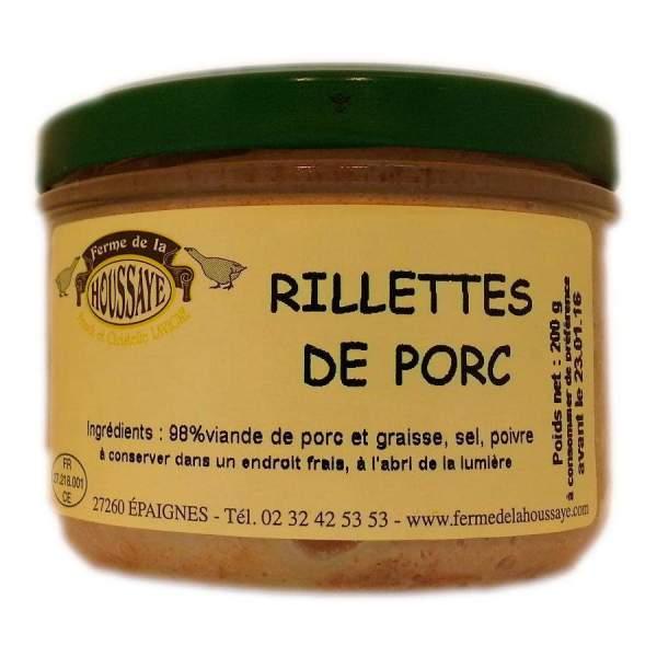 Rillettes pur porc fabrication fermière Ferme de la Houssaye conserve 200g