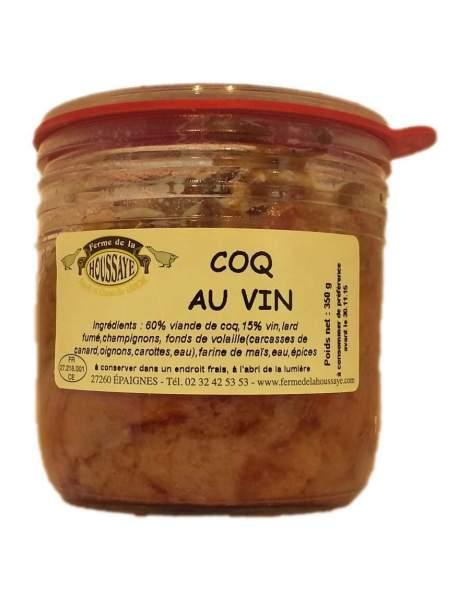 Produits du terroir de normandie, le coq au vin de la Ferme de la Houssaye, vente en ligne de conserves artisanales.