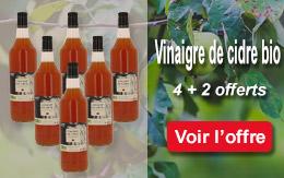 Lot de vinaigre de cidre bio, non pasteurisé, ni filtré, sans sulfites ajoutés 4 bouteilles + 2 offertes